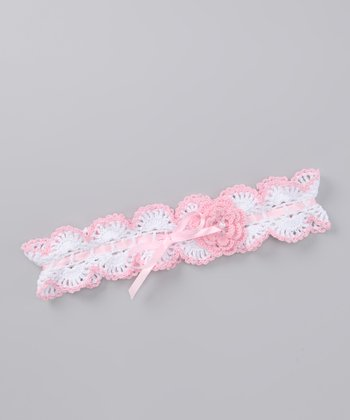 Pink & White Flower Crocheted Headband