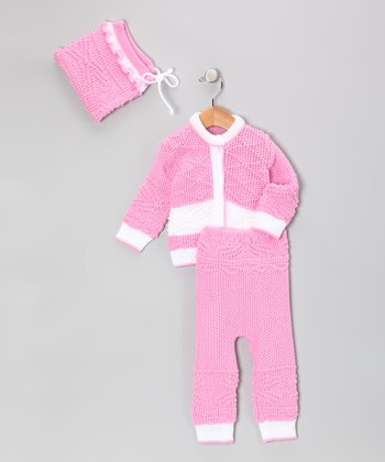 Pink Wool-Blend Cardigan Set