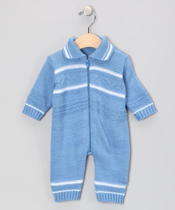 Blue Knit Wool-Blend Romper