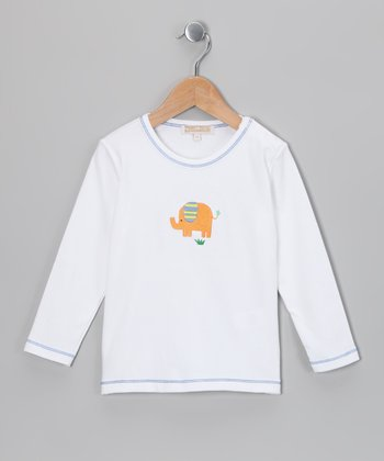 White & Orange Elephant Cooper Tee - Infant & Toddler