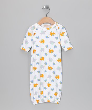 White & Orange Elephant Austin Gown - Infant