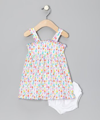 White Glass Bead Dress & Diaper Cover - Infant & Toddler