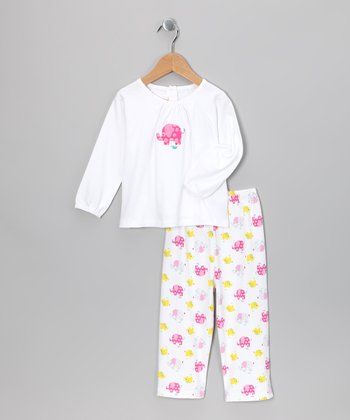White & Pink Elephant Maria Tee & Pants - Infant & Toddler