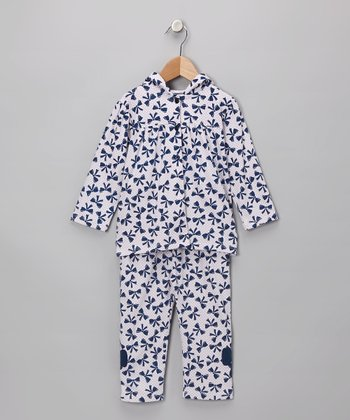 Navy Bow Top & Pants - Infant & Girls