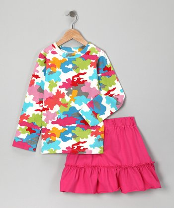 Pink Camouflage Top & Fuchsia Skirt - Girls