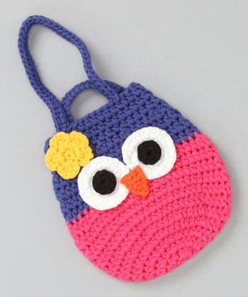 Hot Pink & Blue Owl Pouch Bag