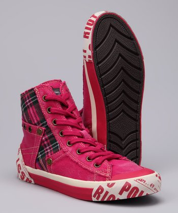 Fuchsia Tabloid Kiss Hi-Top Sneaker