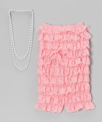 Pink Lace Romper & Pearl Necklace - Infant, Toddler & Girls
