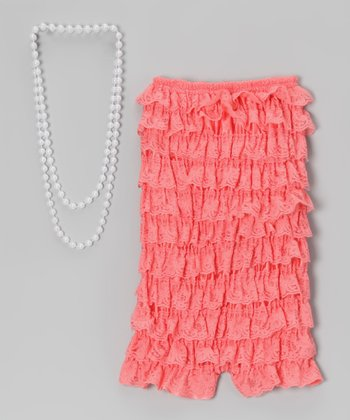 Watermelon Lace Romper & Pearl Necklace - Infant, Toddler & Girls