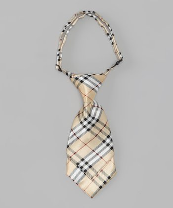 Beige & Black Plaid Adjustable Tie