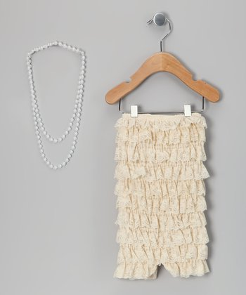Champagne Lace Romper & Pearl Necklace - Toddler