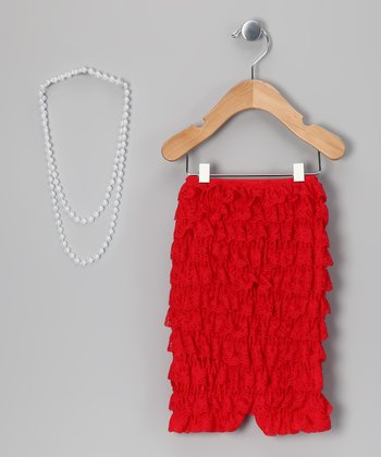 Red Lace Romper & Pearl Necklace - Infant & Toddler