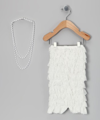 White Lace Romper & Pearl Necklace - Infant & Toddler