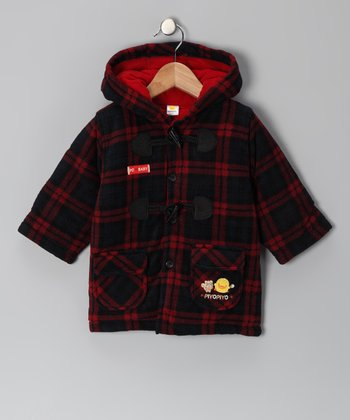 Red & Black Plaid Toggle Coat - Infant