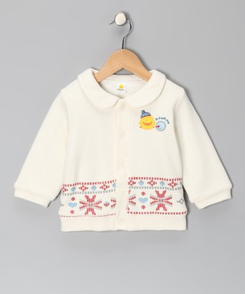 White Cross-Stitch Jacket - Infant & Toddler