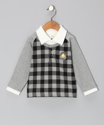 Gray Plaid Raglan Polo - Toddler