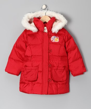 Red Down Puffer Coat - Toddler