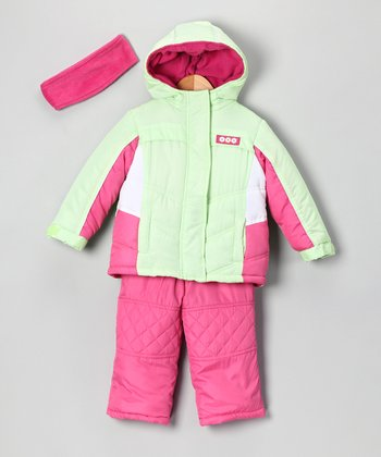 Lime & Pink Snow Jacket Set - Girls