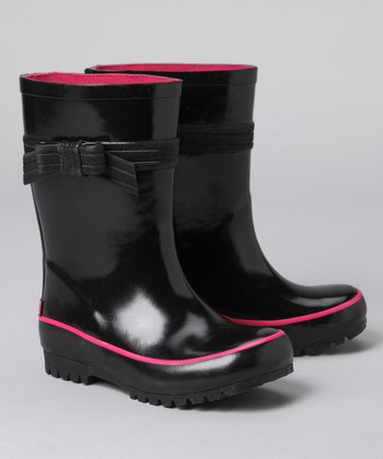 Black & Pink Bow Rain Boot