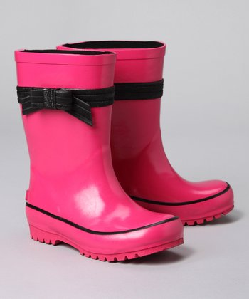Fuchsia Bow Rain Boot