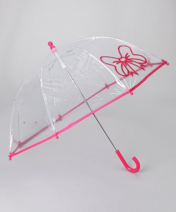 Fuchsia Transparent Bow Umbrella