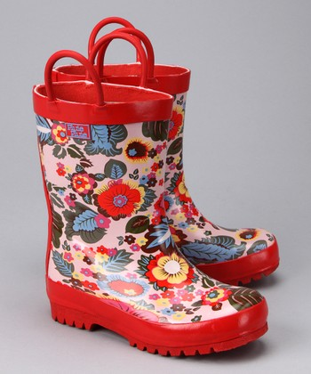 Red Flower Rain Boot