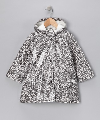 Gray Leopard Fleece-Lined Raincoat - Infant, Toddler & Girls