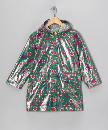 Green & Pink Raincoat - Infant, Toddler & Girls