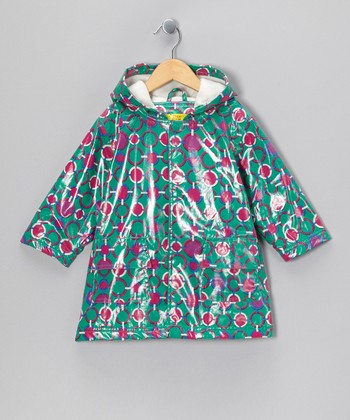 Green & Pink Fleece-Lined Raincoat - Infant, Toddler & Girls