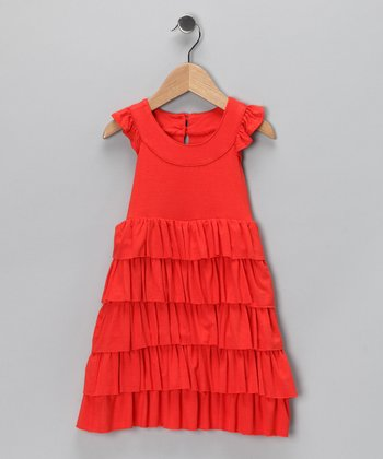 Orange Tiered Dress - Toddler & Girls