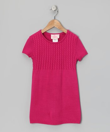 Fuchsia Cable Knit Sweater Tunic - Girls