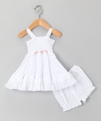 White Rosette Voile Dress & Bloomers - Infant