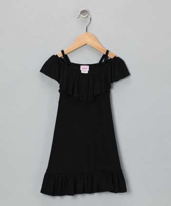Black Ruffle Dress - Girls