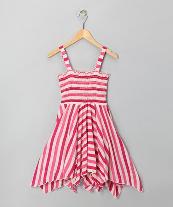 Fuchsia Stripe Handkerchief Dress - Girls