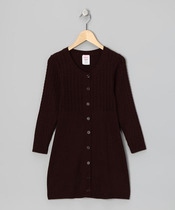 Brown Sweater Dress - Girls