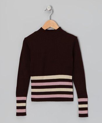 Brown Stripe Sweater - Girls