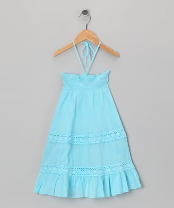 Turquoise Voile Convertible Dress - Girls