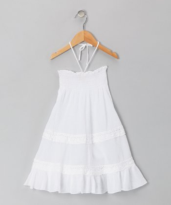 White Voile Convertible Dress - Girls