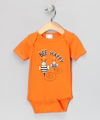 Orange 'Bee Happy' Bodysuit - Infant