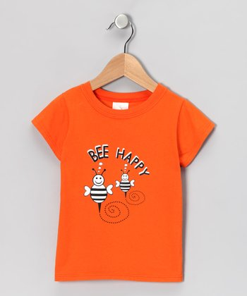 Orange 'Bee Happy' Tee - Infant & Toddler