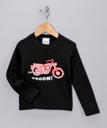 Black 'Vroom!' Long-Sleeve Tee - Toddler & Kids