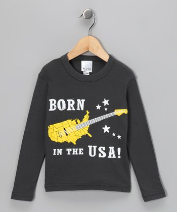 Gray 'Born in the USA' Tee - Toddler & Kids