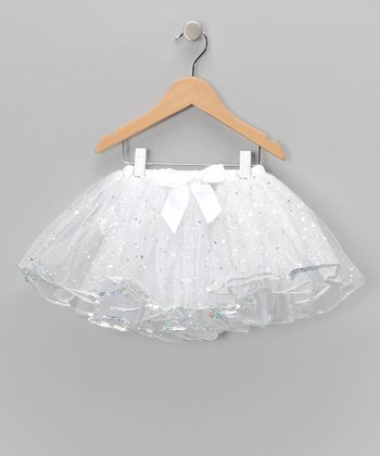 White Sequin Tutu - Toddler & Girls