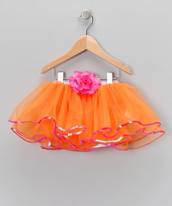 Bright Orange Flower Tutu