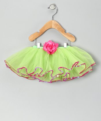 Lime & Pink Sequin Rose Tutu