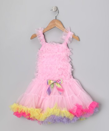 Pink Rainbow Ruffle Dress - Toddler & Girls