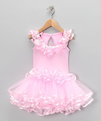 Medium Pink Sequin Skirted Leotard - Girls