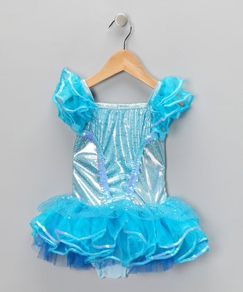 Blue Sequin Skirted Leotard - Toddler & Girls