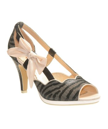 Black A Preppy Lady Open-Toe Pump