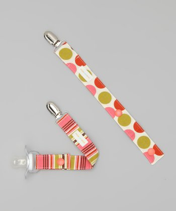 Pink Summer Dot & Stripe Binky Keeper Set